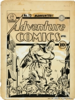 ADVENTURE COMICS #73 Classic SIMON & KIRBY MANHUNTER Cover (1942) Comic Art