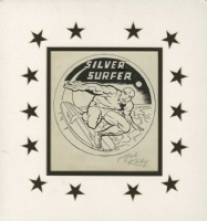 JACK KIRBY - SILVER SURFER MarvelMania Button Original Art - 1969 Comic Art