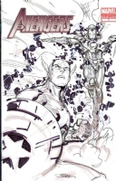 Captain America & Iron Man Avengers sketch cover by Ken Lashley Comic Art