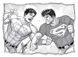 Superboy Prime vs. Superboy by Dale Keown Comic Art