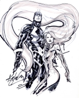 Black Bolt and Medusa and Ken Lashley Comic Art