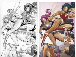Ed Benes Wonder Woman vs Circe Commission Comic Art