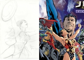 JLA Heavens Ladder rough Bryan Hitch Wonder Woman Comic Art