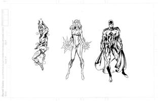 New Warriors character studies: Speedball, Firestar, Marvel Boy Comic Art