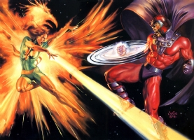 Phoenix vs Magneto by Julie Bell Comic Art