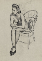 Gil ELVGREN - Seated Nude 1956 studio drawing Comic Art