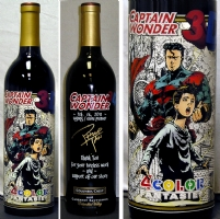 Captain Wonder 3D/ Phillip Tan etched wine bottle Comic Art