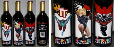 2011 FCBD / Beechen, Krul, Simone etched wine bottles Comic Art
