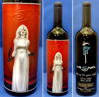 Crypt of Dawn / Joseph Michael Linsner etched wine bottle Comic Art