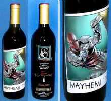 Mayhem! / Tyrese Gibson etched wine bottle Comic Art