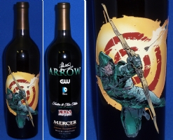 Arrow / Stephen Amill etched wine bottle Comic Art