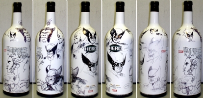 Wolverine Porject / Hero Initiative 3L etched bottle Comic Art