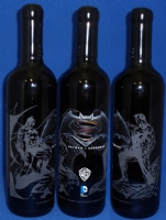 Batman v Superman / etched wine bottle Comic Art