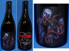 The Strain / Guillermo del Toro etched magnum wine bottle Comic Art