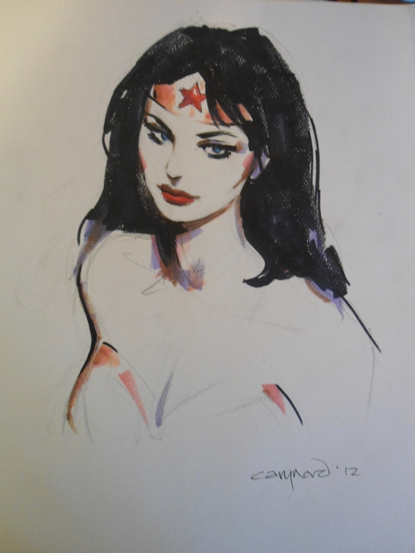 Cary Nord Wonder Woman Head/Torso Sketch Comic Art