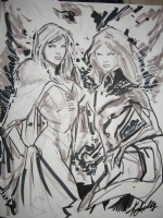 Ken Lashley - Jean Grey Phoenix & Emma Frost White Queen Comic Art