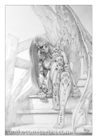Robot Angel Pencil Illustration 04, Comic Art