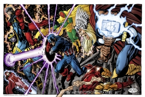 John Byrne - Avengers vs Thanos Comic Art