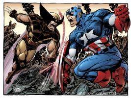 John Byrne - Wolverine vs Captain America Comic Art