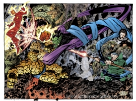 John Byrne - The Fantastic Four vs the Super Skrull and the Mole Man Comic Art