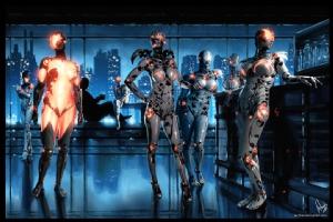 Cyberpunk Nightclub Painting 001, Comic Art