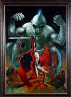 Sanjulian John Carter vs White Ape Comic Art