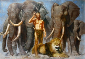 Sanjulian Tarzan with Elephants Comic Art