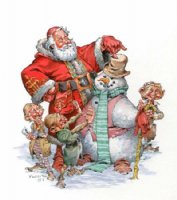 Santa Claus w/Snowman Comic Art