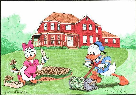 Donald and Daisy Duck at my place Comic Art