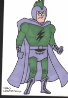 Hembeck, Fred Deathbolt(JSA villian) sketch card 2015, Comic Art