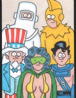 Hembeck, Fred Freedom Fighter group sketch card 2015, Comic Art