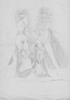 Hawbaker, Samuel Clarke -- Phoenix, Ms Marvel, and Scarlet Witch sketch Comic Art