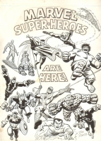 Marvel Superheroes Are Here! Blacklight Poster - Silver Surfer, Iron Man, Dr. Strange, Human Torch, Hulk, Thor, Captain America, Spider-Man, Namor the Sub-Mariner, Black Bolt, & the Thing - 1974 Signed art by John Romita Sr. Comic Art