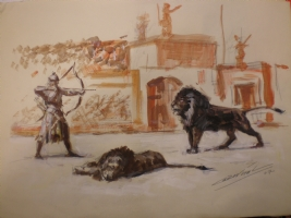 Bestiarius gladiator and lion. Antonio Bernal Romero  Comic Art
