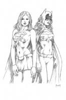 Classic Supergirl and Batgirl Comic Art