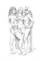 Wonder Woman, Supergirl and Batgirl Comic Art