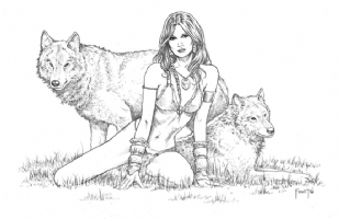 Wolf Girl Comic Art