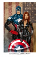 Captain America and Black Widow Comic Art