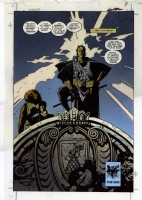 Richmond Lewis / Mike Mignola / P. Craig Russell: Ironwolf endpage (p. 96) (hand-painted) color blueline + inks photo stat Comic Art