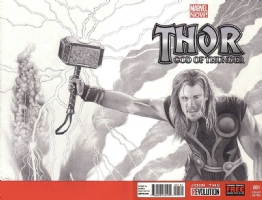 Thor # 1 Blank Variant Blank Hand Drawn Cover 'Wrap-around'., Comic Art
