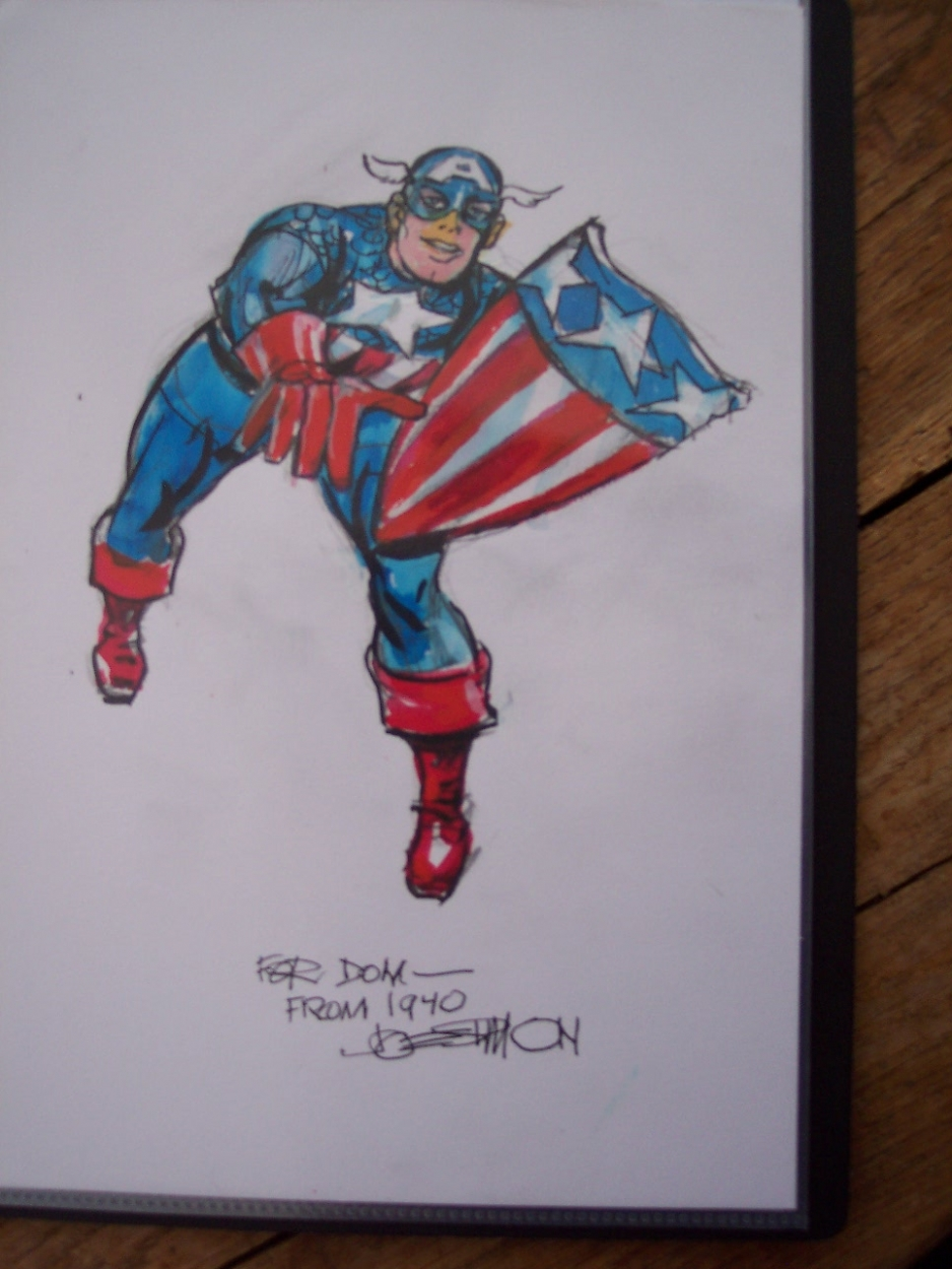 Captain America with triangle shiled Comic Art