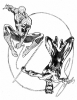 Spider-Wing' Spider-Man & Nightwing by Sal Velluto Comic Art