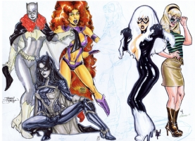 Spider-Wing Gals Jam - Step 5 - Black Cat by Adam Hughes Comic Art