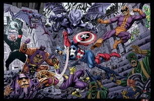 Captain America Battle Royale w/ Cheese Comic Art