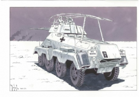 Afrika Corps German WW ll Sd.kfz 232 Comic Art