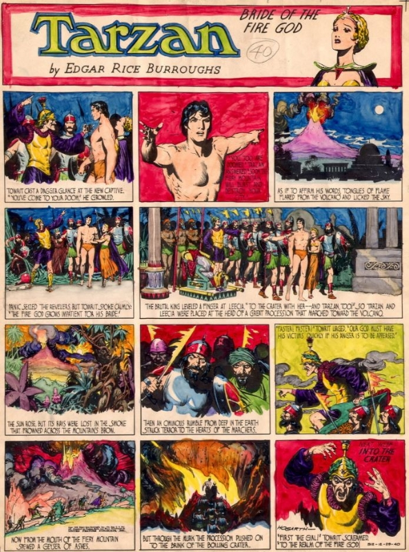 Hogarth - Tarzan - Sunday strip - Bride of the fire god - Color guide Comic Art