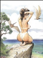 Cavewoman Nude on the edge Comic Art