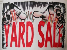 Jack Kirby hands yard sale sign Comic Art