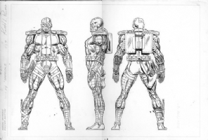 Deathlok II from the Official Handbook of the Marvel Universe Master Edition #24 by Keith Pollard & Joe Rubinstein Comic Art