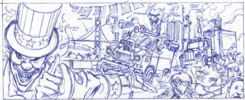 Twisted Metal 4 - Game Scene Prelim Comic Art